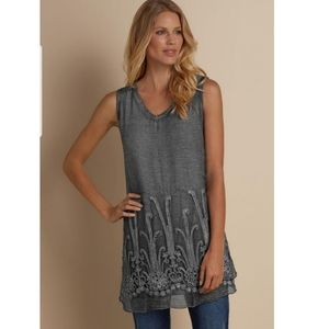 Soft Surroundings Gray Sequin Silk Tunic Blouse M